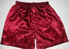 MEN'S SEXY SATIN MAROON BOXER SHORT SIZE SMALL $19.00