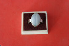 925 Silver Ring With Blue Lace Gem 7.3 Gr.2x1.4 Cm Wide Size P - S 12 - T