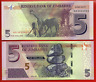 ZIMBABWE 5  DOLLAR BANKNOTE- 2016 P NEW-UNC BOND NOTE  Banknote currency bill