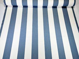 "Sunbrella Closeout Denim White Stripe Outdoor Upholstery UV Canvas Fabric 54""W"