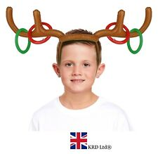 INFLATABLE REINDEER ANTLERS Hat Xmas Party Kids Toy Moose Ring Toss Game Gift UK