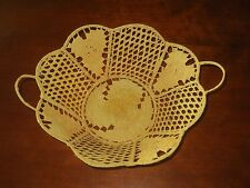 Vtg Grass Woven Lace Basket Metal Frame Fine Detail Work Bowl