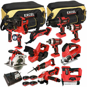 Excel EXL5148 18V 12 Piece Power Tool Kit 4 x 2.0Ah Batteries Smart Charger Bag