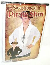 SWASHBUCKLIN' PIRATE SHIRT WHITE Adult Halloween Costume Accessory Pirates New R