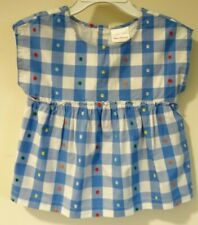 New Hanna Andersson Blue/White Check Raised Dot Cotton Top Size 110 / 5
