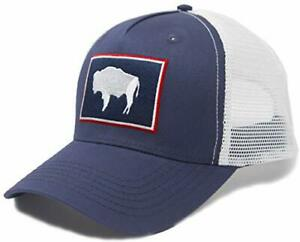 International Tie Wyoming State Flag Trucker Baseball Snapback Hat Navy Blue