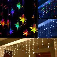 96 LED Star Hanging Curtain String Lights Fairy Lamps Santa Christmas Decoration