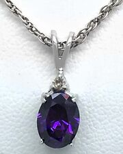 GENUINE 1.48 Carats AMETHYST & DIAMOND PENDANT 14k White Gold *Low Reduced Price