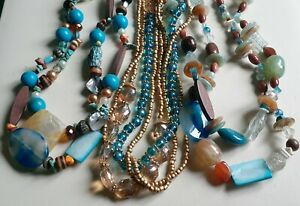 BEACH STYLE HOWLITE AGATES MOP WOOD MIXED BEADED STATEMENT NECKLACES LOT NWT