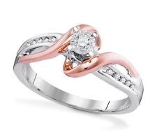 10 Quilates Oro Blanco Diamante Ilusion Set Anillo de Compromiso con / Oro Rosa