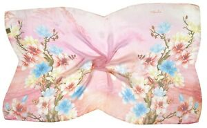 Pink Blue Floral Printed Very Fine Silk Scarf (S3347)