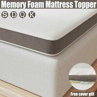 """3'' or 4"""" Genniyz Gel Memory Foam Mattress Topper W/Cover King Queen Full Twin"""