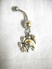 Cute Momma & Baby Elephant Rear End Charm 14g Clear Cz Belly Ring Body Jewelry