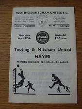 27/04/1967 suma y Mitcham Unidos V Hayes (Notas en línea-ups)