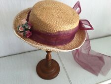 Ancien joli chapeau paille tressée / bouquet fleurs tissu/ nœud et pans tulle