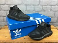 ADIDAS ORIGINALS UK 10 EU 28 BLACK SWIFT RUN TRAINERS CHILDRENS BOYS
