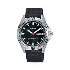 Lorus by Seiko RXN45DX9 Mens Black Military Strap Watch Black Dial 100m Day Date