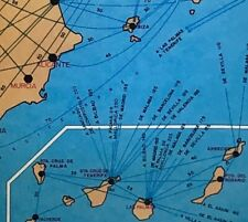 """VTG 1970 SPAIN MAP *Airplane Boat Train* Travel Transportation Routes Mod 21x20"""""""