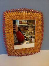 Vintage Kitsch Clothespin Art Framed Mirror Wall Hanging