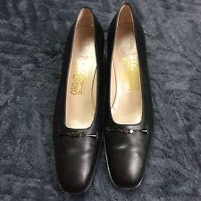 Salvatore Ferragamo Heels Sz 8 8AAA Pumps Black Leather Extra Narrow
