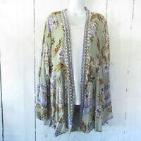 New Angie Kimono 1X Sage Green Floral Border Boho Peasant Boho Plus Size