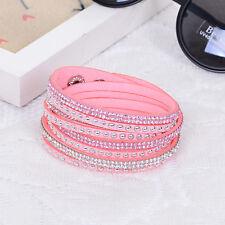 Placo Bracciale in finta pelle scamosciata cristalli rosa chiaro