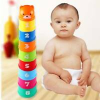 9pcs Folding Cups Stacking Building Block Baby Kids Educational Letter Toys Gift