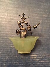 Jade and Sterling Silver Chopstick Holder - Beautifully Detailed