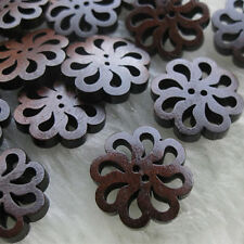 40Pcs Hollow Round 2-Holes Sewing Scrapbooking DIY Wooden Buttons Craft Pretty