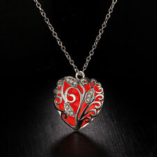 Unique Magical Fairy Glow in The Dark Pendant Locket Heart Luminous Necklace SK Red