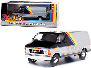 1980 DODGE RAM B250 VAN SILVER & BLACK 1/43 DIECAST MODEL BY GREENLIGHT 86600