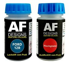 Lackstift FORD 12R Burma Blue Metallic + Klarlack je 50ml Autolack Basislack Set