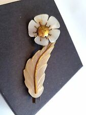 Mother of Pearl Brooch Flower and Leaf Vintage MOP Pin