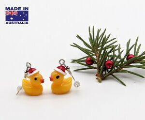 Cute 3D Christmas X-Mas RUBBER DUCK DUCKY Style Novelty Earrings Dress Accessory