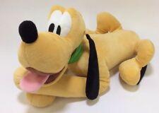 "Disney 16"" Pluto Plush Stuffed Animal Laying Down Green Collar Super Soft Toy"