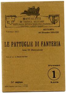 Manuale Militare 1934-Pattuglie di fanteria-Mappe Radio-Forze Armate Italiane EI