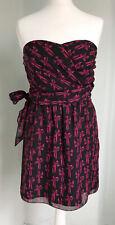 Ted Baker Negro Pink Bow Print vestido sin tirantes cintura lazo Fiesta Ocasión Reino Unido 8
