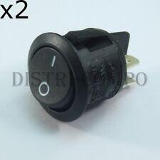 Interrupteur à bascule 2 pôles ON OFF noir DPST 10A 250V (lot de 2)