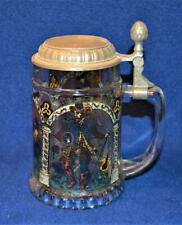 Vintage Signed BMW West Germany Painted Glass KNIGHTS Pewter Lidded Beer Stein
