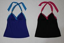 NEW WOMENS TROPICAL ESCAPE HALTER TANKINI SWIMSUIT TOP VARIOUS SIZES BLUE BLACK