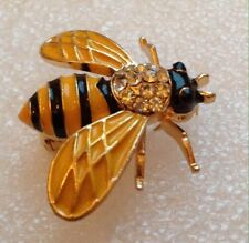 HONEY BEE BROOCH PIN Black Yellow Enamel, Crystals, Gold-tone (Yellow Wings)