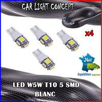 4 x ampoule veilleuse Feu LED W5W T10 BLANC XENON 6500k voiture auto moto 5 smd