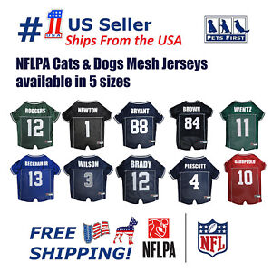 NFLPA Jersey PET GEAR for DOGS & CATS - Poly-Mesh Licensed available in 5 sizes.