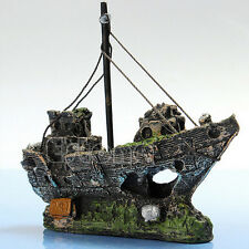 Aquarium Fish Tank Cave Decor Wreck Sailing Boat Sunk Ship Destroyer Ornament