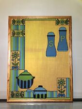 Vintage Embroidered & Painted Wall Art;Teal,Blue,Green,Salt&Pepper Kitchen Pic