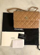 Authentic Chanel Trendy CC Flap Quilted Shoulder Bag Beige 2019