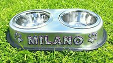 Dog bowl, pet bowl,stainless steel, medium sized, personalised, with Crystals