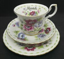 """Royal Albert """"Anemones"""" Flower Of The Month Series MARCH Bone China Trio 1970"""
