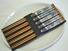AU Chinese Japanese Handmade Natural Bamboo Chopsticks Gift 5 Pairs Deluxe Kit 6