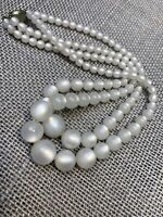 1950S Signed Rick ? Beaded White moonglow Two Strand Pearl Necklace  16""